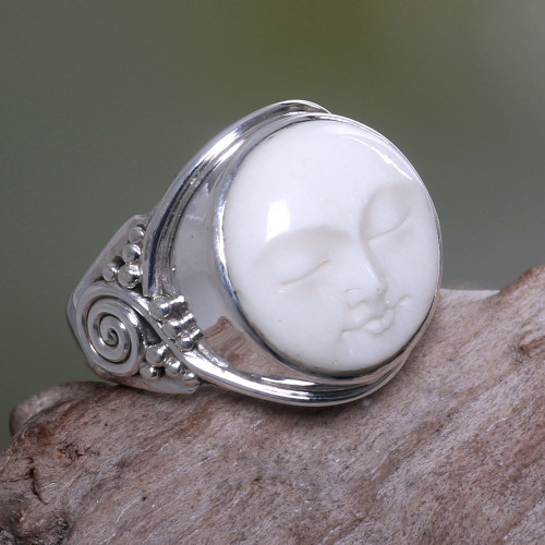 Hand Crafted Sterling Silver and Cow Bone Cocktail Ring 'Face of the Moon'