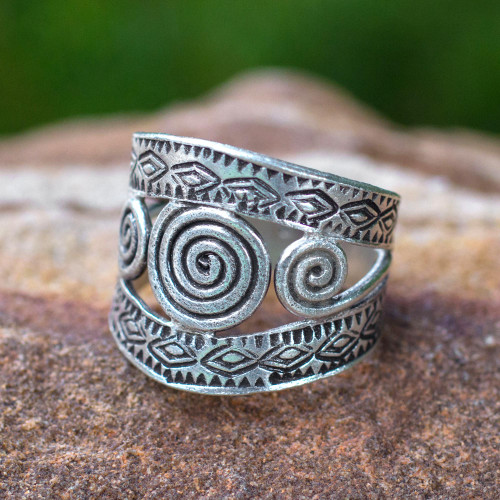 Handcrafted Hill Tribe Sterling Silver Band Ring 'Bedazzled'
