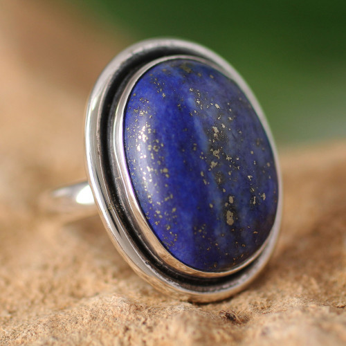 Lapis Lazuli Cocktail Ring in Sterling Silver Jewelry 'Universe'