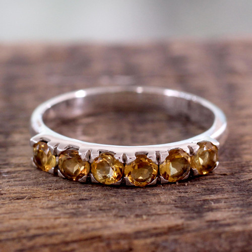 Fair Trade Jewelry India Sterling Silver and Citrine Ring 'Forever Sunshine'