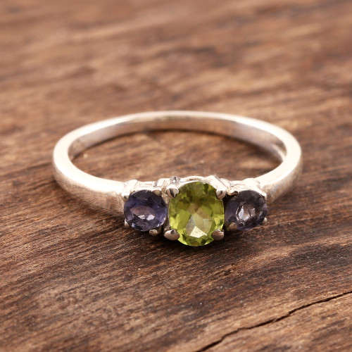 Peridot and Iolite Ring on Sterling Silver from India 'Blue Embrace'