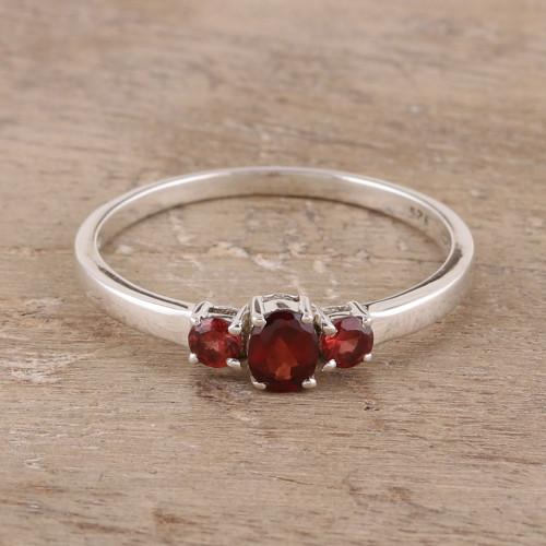 Garnet Ring India Birthstone Jewelry 'Passion's Glow'