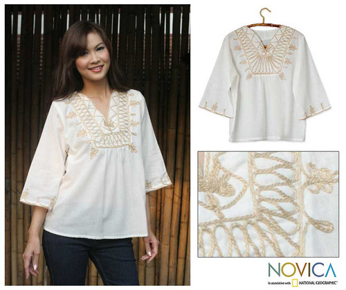 Hand Made  Embroidered Cotton Blouse 'Dance'
