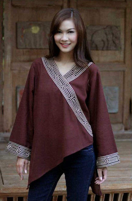 Embroidered Cotton Blouse 'China Paths in Dark Brown'
