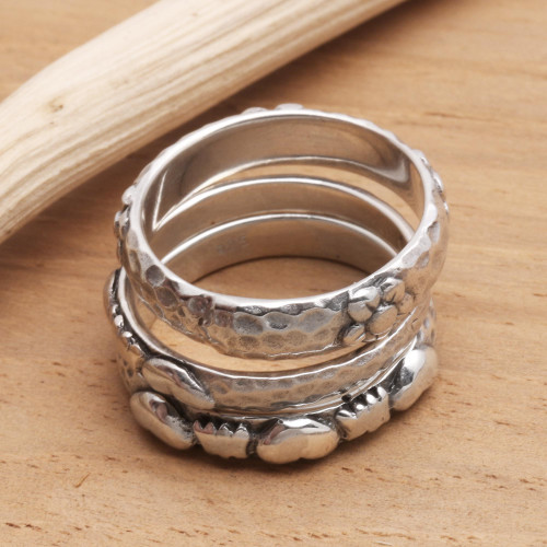 Sterling Silver Stacking Rings Set of 3 'Silver Loves'