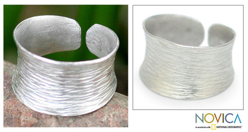 Handcrafted Sterling Silver Band Ring 'Riptide'