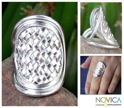 Modern Sterling Silver Band Ring 'Woven Rapture'