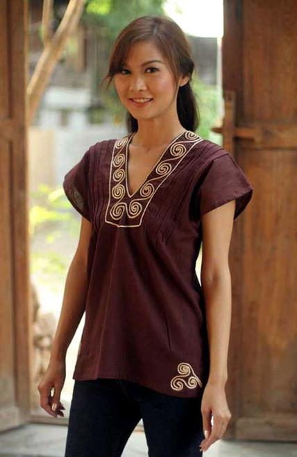 Handcrafted Short Sleeve Brown Tunic 'Mahogany Melody'