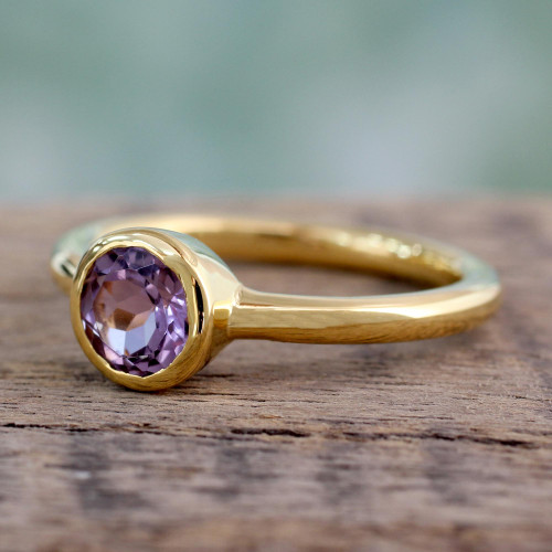 Gold Vermeil Jewelry Solitaire Amethyst Ring 'Lilac Nature'