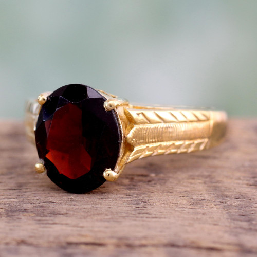 Handcrafted Gold Vermeil and Garnet Solitaire Ring 'Royal Red'
