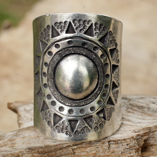 Handmade Sterling Silver Wrap Ring 'Hill Tribe Sun'