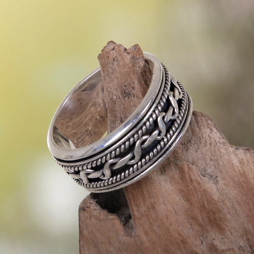 Artisan Jewelry Sterling Silver Spinner Ring 'Knots'