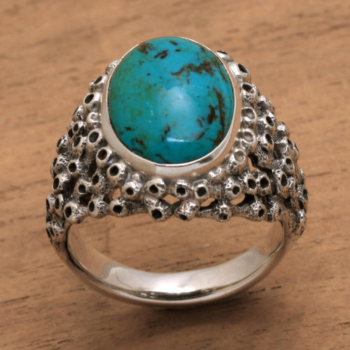 Men's Hand Made Silver and Turquoise Ring from Indonesia 'Living Coral'