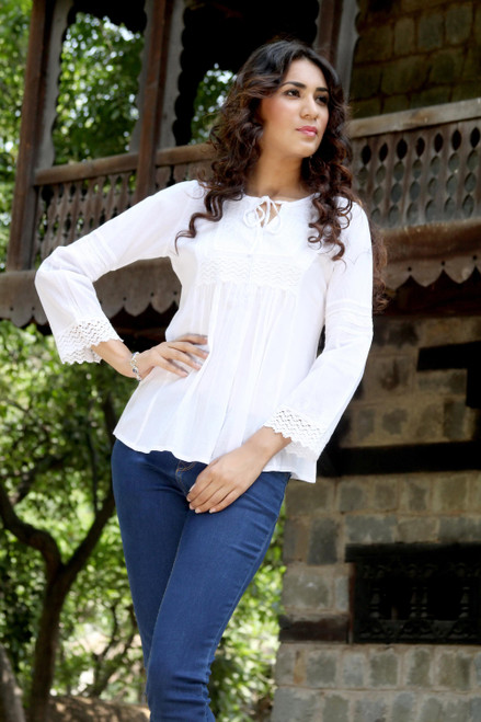 White Cotton Blouse Top Long Sleeve 'Floral Clouds'