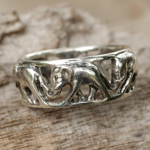 Sterling Silver Elephant Theme Band Ring from Thailand 'Elephant Walk'