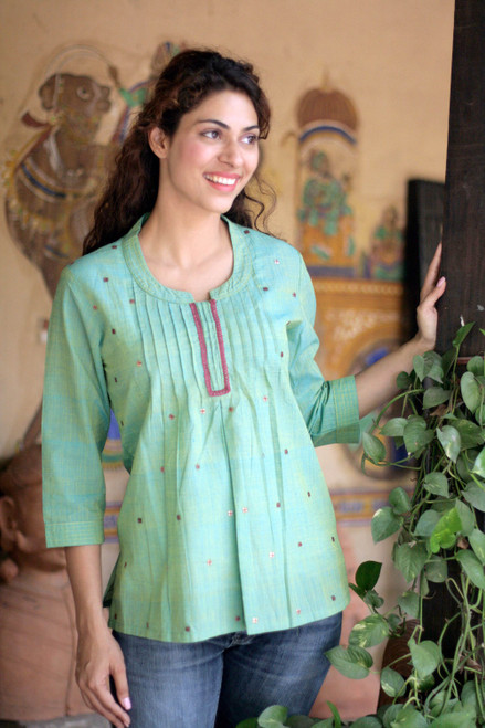 Handwoven Cotton Embroidered Blouse Top 'Lemon Lime'