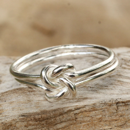 Unique Sterling Silver Band Ring 'Love Knot'