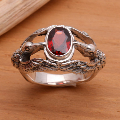 Men's Indonesian Sterling Silver and Garnet Ring 'Gift of Peace'