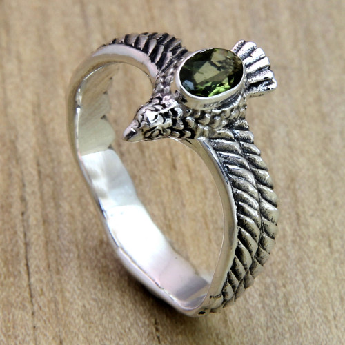 Men's Hand Crafted Peridot and Sterling Silver Ring 'Peace Messenger'