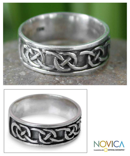 Hand Crafted Men's Sterling Silver Band Ring 'Love's Geometry'