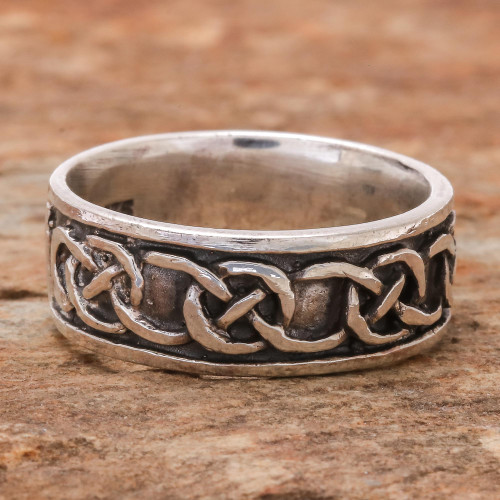 Artisan Crafted Sterling Silver Band Ring 'Love's Geometry'
