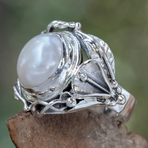 Handcrafted Silver and Pearl Cocktail Ring 'Nest of Lilies'