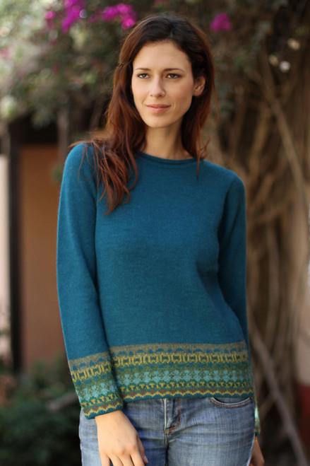 Hand Crafted Peruvian Alpaca Wool Sweater 'Inca Muse'