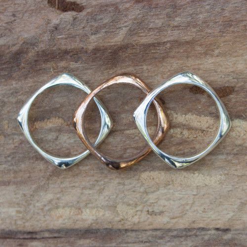 Handcrafted Copper Sterling Silver Stacking Rings Set of 3 'Taxco Destiny'
