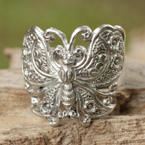Sterling Silver Cocktail Ring 'Spring Butterfly'