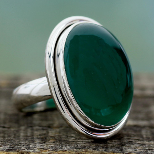 Sterling Silver Single Stone and Green Onyx Cocktail Ring 'Universe'
