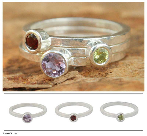 Handcrafted Amethyst and Garnet Stacking Rings Set of 3 'Spring Color'