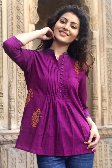 Paisley Cotton Embroidered Blouse Top from India 'Wine Delight'