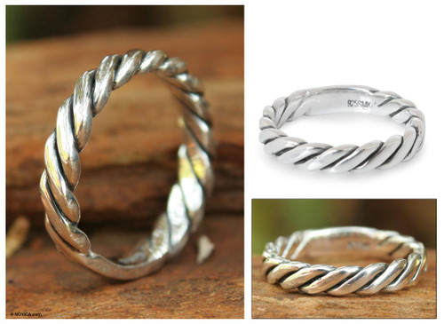 Sterling silver band ring 'Lives Entwined'