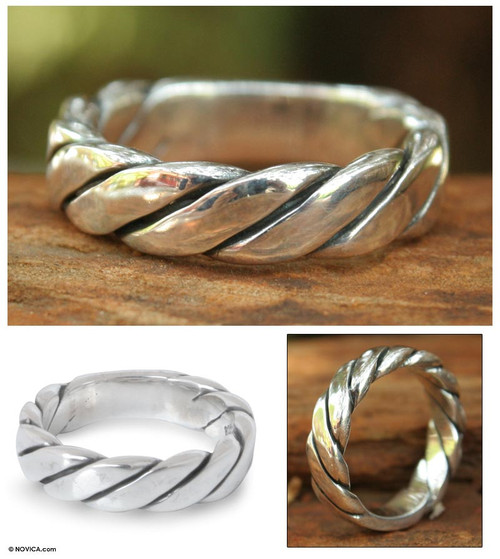 Men's Handcrafted Sterling Silver Band Ring 'Lives Entwined'