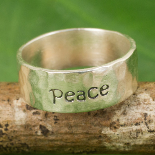 Handcrafted Sterling Silver Band Ring 'Spirit of Peace'
