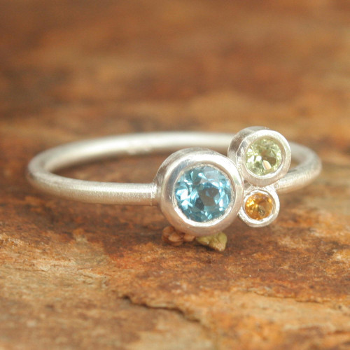 Handmade Blue Topaz and Citrine Cocktail Ring 'Chiang Mai Majesty'