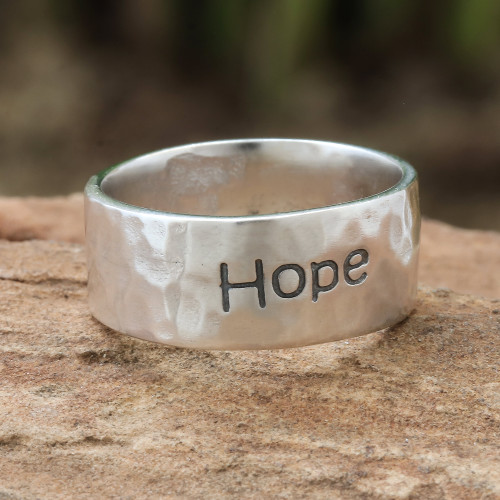 Inspirational Sterling Silver Band Ring 'Spirit of Hope'