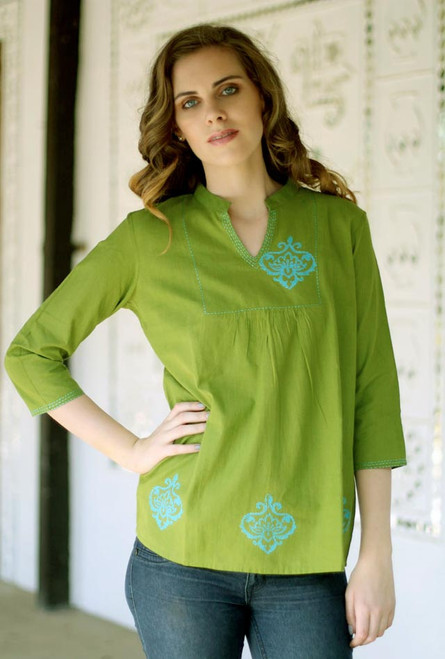 Collectible Women's Cotton Embroidered Blouse Top 'Goa Green'