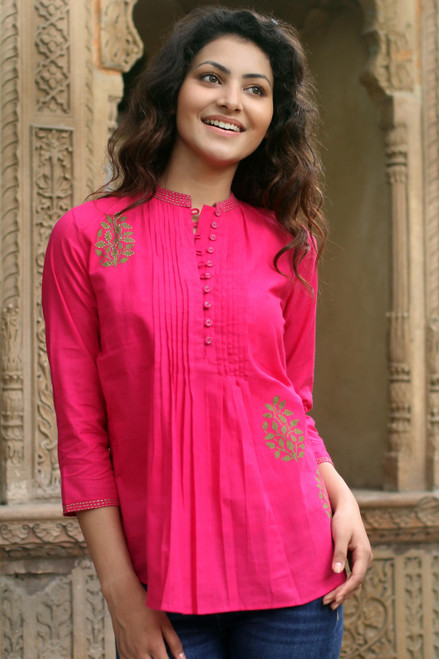 Fair Trade Cotton Embroidered Blouse Top 'Bengali Rose'