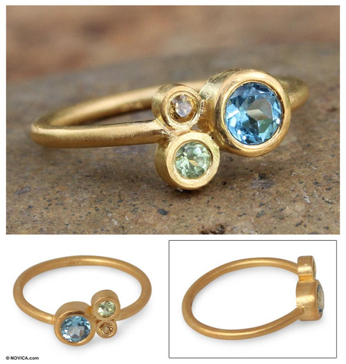 Gold Plated Blue Topaz and Peridot Ring 'Chiang Mai Majesty'