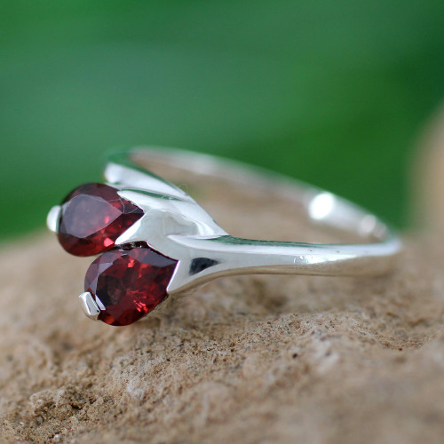 Artisan Crafted Garnet and Silver Ring 'Rose of Love'