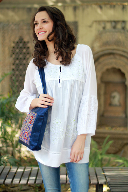 Hand Made Indian Floral Cotton Embroidered Tunic Top 'Romantic White'