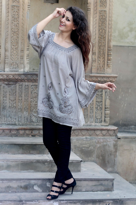 Artisan Crafted Cotton Embroidered and Beaded Blouse Top 'Romance'