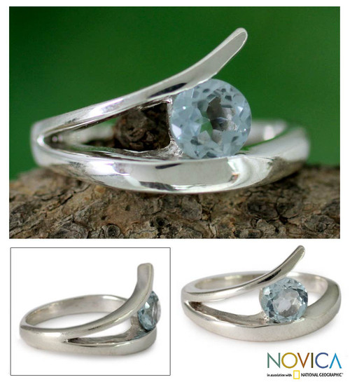 Sterling Silver Solitaire Blue Topaz Ring 'Dazzling Love'