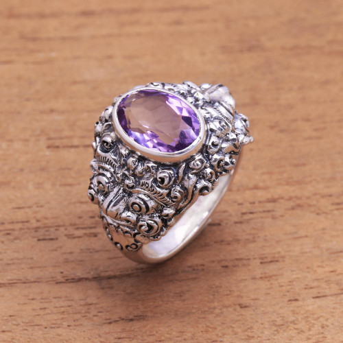 Men's Amethyst and Sterling Silver Ring 'Beloved Barong'