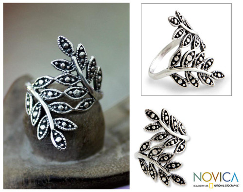 Sterling Silver Leaf Ring 'Balinese Fronds'