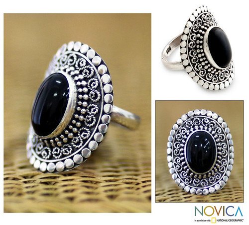 Sterling Silver and Onyx Cocktail Ring 'Majesty Halo'
