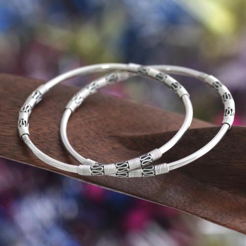 Artisan Crafted Sterling Silver Bangle Bracelets Pair 'Secrets'