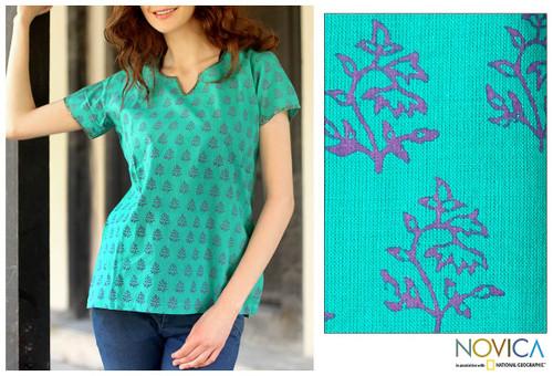 Cotton Tunic Shirt  Blue Green Block Print Floral By India 'Mumbai Bouquet'