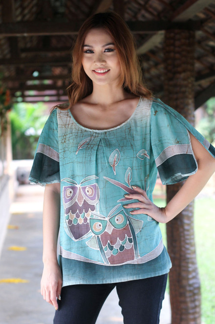 Hand Painted Women's Top 'Owl Adventures'
